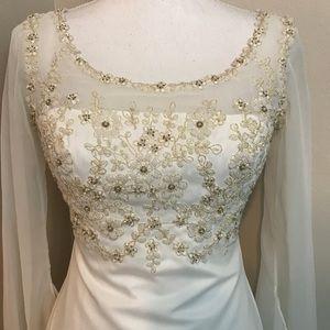 Lady Roi Bridals Beaded Boho Peasant Wedding Dress